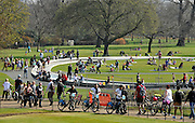 © Licensed to London News Pictures. 24/03/2012. London, UK. People at The Princess Diana Memorial Fountain. People enjoy the warm sunshine today 24 March 2012 in Hyde Park Central London . Photo credit : Stephen SImpson/LNP
