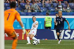 June 28, 2018 - Wolgograd, Russia - Kamil Grosicki of Poland competes with Yuto Nagatomo of Japan during the 2018 FIFA World Cup Russia group H match between Japan and Poland at Volgograd Arena on June 28, 2018 in Volgograd, Russia. (Credit Image: © Foto Olimpik/NurPhoto via ZUMA Press)