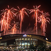 Early 4th of July fireworks at Citi Field New York after the New York Mets V Arizona Diamondbacks Baseball game on Wednesday evening was held up with a two hour rain delay. The game finally finished after midnight in the early hours of July 4th when the fireworks went ahead as planned. Arizona won the game 5-3.  Citi Field, Queens, New York. USA. 4th July 2013. Photo Tim Clayton