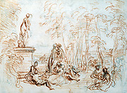 Study for 'The Pleasures of Love'. Jean-Antoine Watteau (1684-1721) French Rococo painter.
