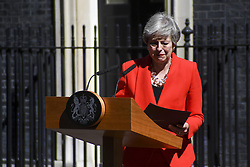 LONDON, May 24, 2019  British Prime Minister Theresa May speaks to the media outside 10 Downing Street in London, Britain on May 24, 2019. Theresa May said on Friday that she will quit as Conservative leader on June 7, paving ways for contest to decide Britain's next prime minister. (Credit Image: © Xinhua via ZUMA Wire)