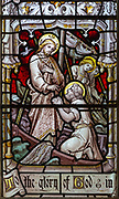 Stained glass east window detail Jesus Christ and fishermen, church of Aldeburgh, Suffolk, England, UK c1891 J Hardman