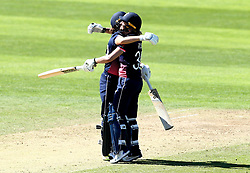 Sarah Taylor of England Women and Natalie Sciver of England Women hug in celebration of their World Cup Group Match win over Sri Lanka Women - Mandatory by-line: Robbie Stephenson/JMP - 02/07/2017 - CRICKET - County Ground - Taunton, United Kingdom - England Women v Sri Lanka Women - ICC Women's World Cup Group Stage