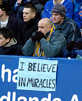 Photo: Leigh Quinnell.<br /> Leicester City v Southampton. The FA Cup. 28/01/2006.<br /> A Leicester fan prays for a win.