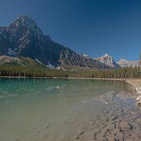Mount Chephren rises above Waterfowl Lake in Banff National Park, Alberta, Canada.