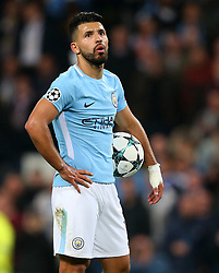 Sergio Aguero of Manchester City prepares to take a penalty - Mandatory by-line: Matt McNulty/JMP - 26/09/2017 - FOOTBALL - Etihad Stadium - Manchester, England - Manchester City v Shakhtar Donetsk - UEFA Champions League Group stage - Group F