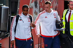 © Licensed to London News Pictures. 20/05/2016. London, UK. Manchester United players ANTONIO VALENCIA and PHIL JONES arrive at their hotel in Wembley, London on Friday, 20 May 2016, ahead of the FA Cup final against Crystal Palace in Wembley Stadium. Photo credit: Tolga Akmen/LNP