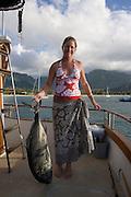 Ulua fish, Hanalei Bay, Kauai, Hawaii<br />