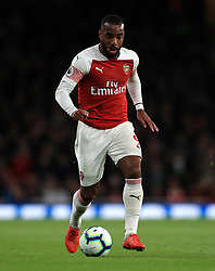 """Arsenal's Alexandre Lacazette during the Premier League match at the Emirates Stadium, London. PRESS ASSOCIATION Photo. Picture date: Monday October 22, 2018. See PA story SOCCER Arsenal. Photo credit should read: Mike Egerton/PA Wire. RESTRICTIONS: EDITORIAL USE ONLY No use with unauthorised audio, video, data, fixture lists, club/league logos or """"live"""" services. Online in-match use limited to 120 images, no video emulation. No use in betting, games or single club/league/player publications."""