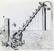 Archimedean scew for raising water. Engraving 1617.