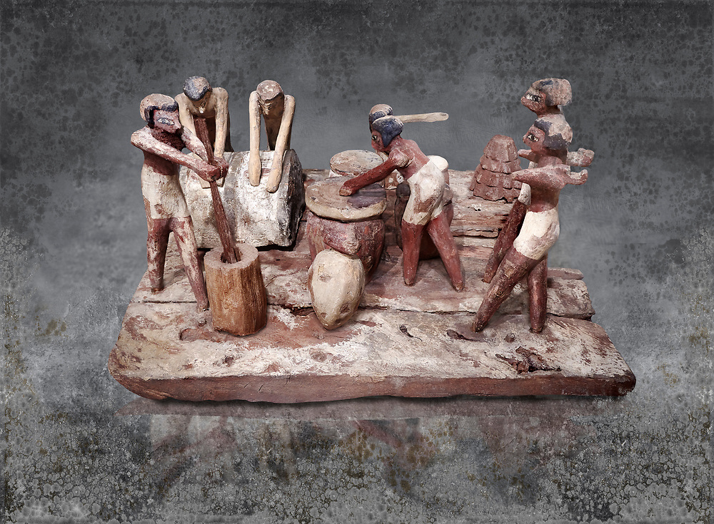 Ancient Egyptian wooden model of bread making, Middle Kingdom, (1939-1875 BC),  Egyptian Museum, Turin. <br /> <br /> Wooden tomb models were an Egyptian funerary custom throughout the Middle Kingdom in which wooden figurines and sets were constructed to be placed in the tombs of Egyptian royalty. These wooden models represented the work of servants, farmers, other skilled craftsman, armies, and religious rituals .<br /> <br /> Visit our HISTORIC WALL ART PRINT COLLECTIONS for more photo prints https://funkystock.photoshelter.com/gallery-collection/Historic-Antiquities-Photo-Wall-Art-Prints-by-Photographer-Paul-E-Williams/C00002uapXzaCx7Y<br /> <br /> Visit our Museum ART & ANTIQUITIES COLLECTIONS to browse more photo at: https://funkystock.photoshelter.com/p/museum-antiquities