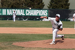 12 April 2014:  Jeff Johnson during an NCAA division 3 College Conference of Illinois and Wisconsin (CCIW) baseball game between the Augustana Vikings and the Illinois Wesleyan Titans at Jack Horenberger Stadium, Bloomington IL