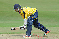 Adam Wheater of Hampshire gets the ball stuck between his pads   - Photo mandatory by-line: Dougie Allward/JMP - Mobile: 07966 386802 - 14/07/2015 - SPORT - Cricket - Cheltenham - Cheltenham College - Natwest T20 Blast