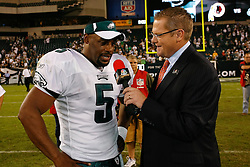 21 Sept 2008: Philadelphia Eagles quarterback Donovan McNabb #5 is interviewed by NBC Sports after the game against the Pittsburgh Steelers on September 21st, 2008.  The Eagles won 15-6 at Lincoln Financial Field in Philadelphia Pennsylvania. (Photo by Brian Garfinkel)