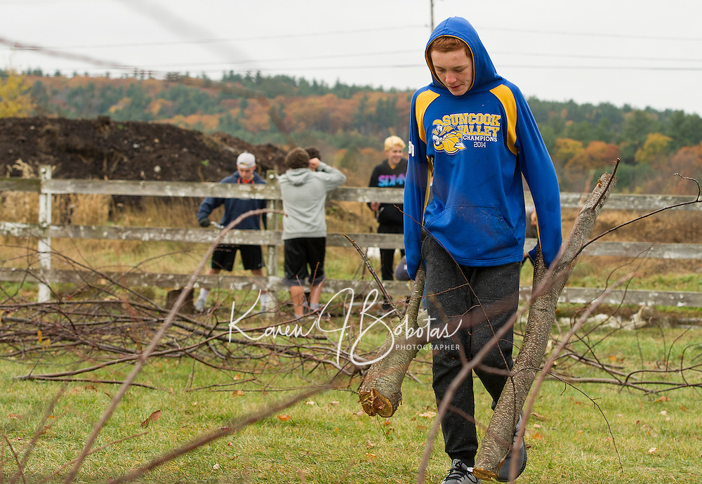 Jeremy Wilson clears out downed tree limbs from the Gilford Meadows field as part of the Freshman class Gilford/Gilmanton Community Service Day on Tuesday.  (Karen Bobotas/for the Laconia Daily Sun)