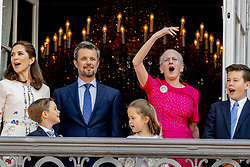 Crown Prince Frederik, Crown Princess Mary, Queen Margrethe, Prince Christian, Prince Vincent and Princess Josephine celebrate 50th birthday of Crown Prince Frederik at the royal palace in Copenhagen, Denmark, on May 26, 2018. Photo by Robin Utrecht/ABACAPRESS.COM