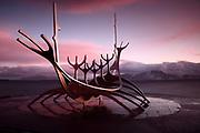 The Sun Voyager (Sólfar) sculpture, by Jón Gunnar Árnason, in Reykjavik, Iceland, just before Sunrise