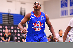 June 3, 2018 - Norwalk, CA, U.S. - NORWALK, CA - JUNE 03: Charles Bassey from Aspire Academy boxes out for a rebound during the Pangos All-American Camp on June 3, 2018 at Cerritos College in Norwalk, CA. (Photo by Brian Rothmuller/Icon Sportswire) (Credit Image: © Brian Rothmuller/Icon SMI via ZUMA Press)