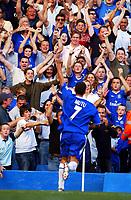 Adrian Mutu celebrates scoring the 3rd goal for Chelsea. Chelsea v Tottenham Hotspur, FA Premiership, 13/09/2003. Credit: Colorsport / Matthew Impey DIGITAL FILE ONLY
