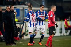 (L-R) Martin Odegaard of sc Heerenveen, Pelle van Amersfoort of sc Heerenveen during the Dutch Eredivisie match between sc Heerenveen and Willem II Rotterdam at Abe Lenstra Stadium on March 03, 2018 in Heerenveen, The Netherlands