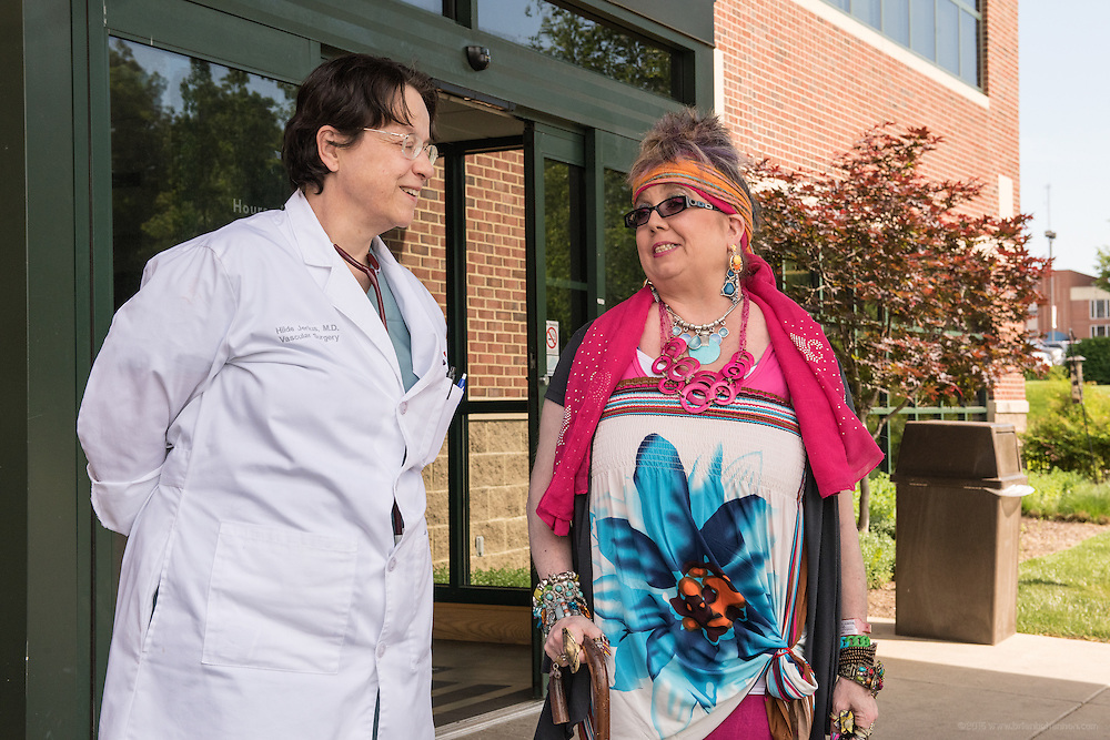 Patient Bridgett Brennan, in Valve Clinic with Vascular Surgeon Dr. Hilde Jerius, photographed Wednesday, May 13, 2015 at Baptist Health in Madisonville, Ky. (Photo by Brian Bohannon/Videobred for Baptist Health)