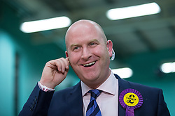 © Licensed to London News Pictures . 10/10/2014 . Heywood , UK . PAUL NUTTALL MEP talking to media about UKIP's request for a recount at the count at the Heywood and Middleton by-election , following the death of sitting MP Jim Dobbin . Photo credit : Joel Goodman/LNP