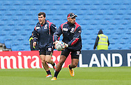 Sam Manoa offloads the ball during the USA Captain's Run in preparation for the Rugby World Cup at the American Express Community Stadium, Brighton and Hove, England on 18 September 2015.