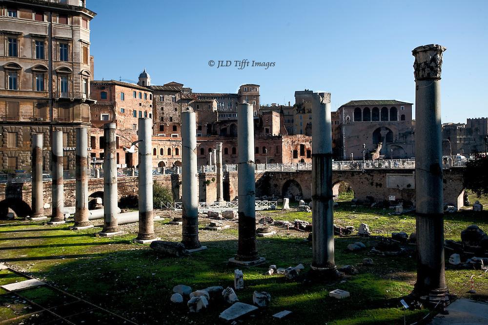 Trajan's Forum, looking along a re-erected colonnade toward Trajan's Markets and the Casa dei Cavalieri di Rodi (Knights of St. John, or Rhodes (Rodi).
