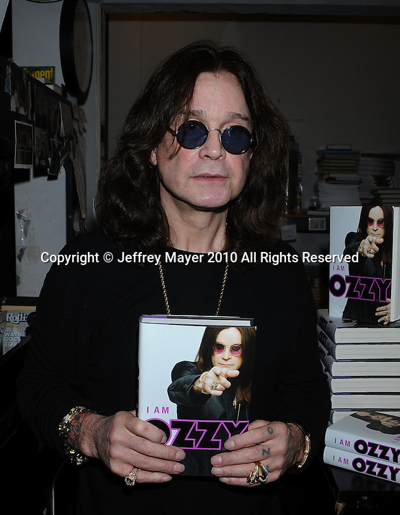 """WEST HOLLYWOOD, CA. - February 02: Ozzy Osbourne signs copies of his book """"I Am Ozzy"""" at Book Soup on February 2, 2010 in West Hollywood, California."""