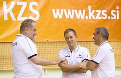 Head coach Bozidar Maljkovic, Matej Avanzo and Roman Volcic during practice session of Slovenian National Basketball team during training camp for Eurobasket Lithuania 2011, on July 12, 2011, in Arena Vitranc, Kranjska Gora, Slovenia. (Photo by Vid Ponikvar / Sportida)