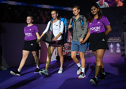 October 26, 2018 - Kallang, SINGAPORE - Elise Mertens of Belgium & Demi Schuurs of the Netherlands on their way to the court for their doubles quarterfinal at the 2018 WTA Finals tennis tournament (Credit Image: © AFP7 via ZUMA Wire)