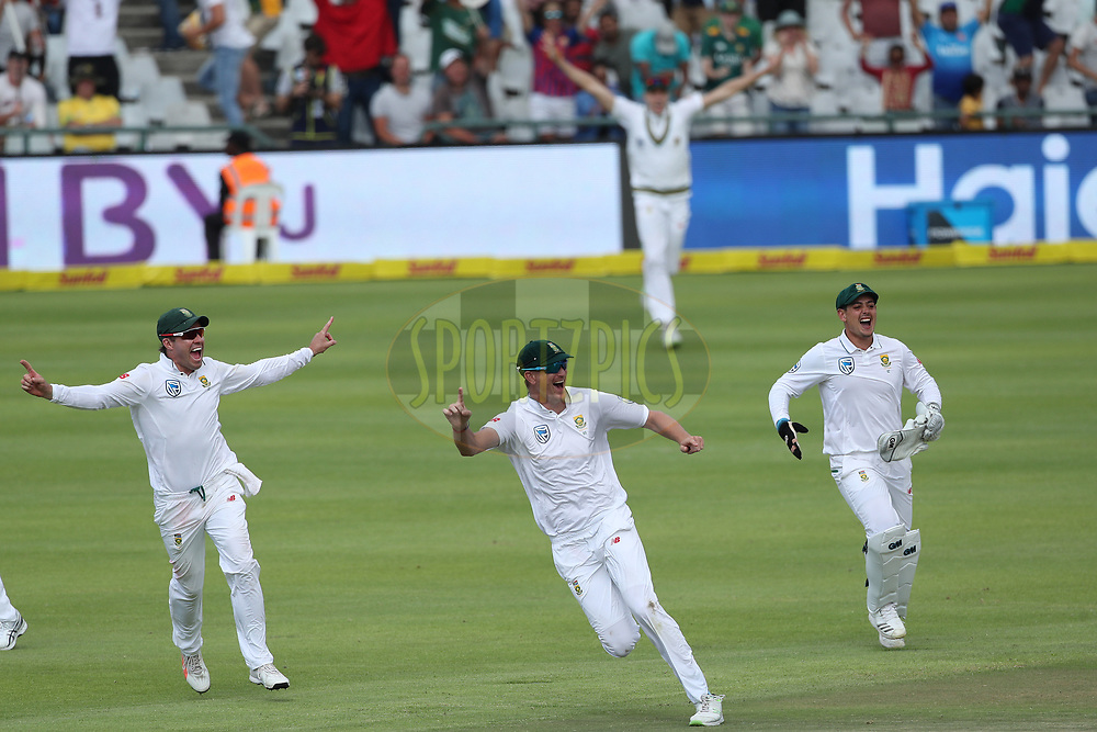 AB de Villiers of South Africa , Chris Morris of South Africa and Quinton de Kock of South Africa celebrate the win during day four of the first Sunfoil Test match between South Africa and India held at the Newlands Cricket Ground in Cape Town, South Africa on the 8th January 2018<br /> <br /> Photo by: Ron Gaunt / BCCI / SPORTZPICS