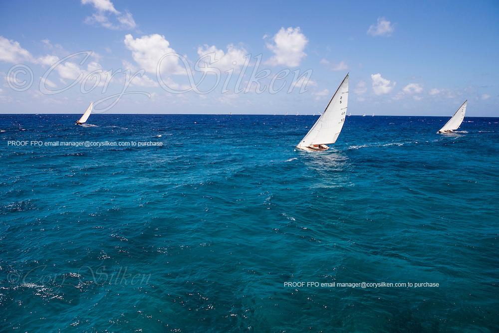 Papoose sailing in the Antigua Classic Yacht Regatta, Windward Race.