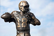 October 08, 2017:  A statue honoring Peyton Manning outside of Lucas Oil Stadium in Indianapolis, Indiana.