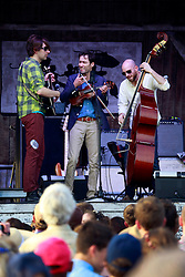 27 April 2013. New Orleans, Louisiana,  USA. .New Orleans Jazz and Heritage Festival. Andrew Bird (middle) on the Fais Do-Do stage..Photo; Charlie Varley.
