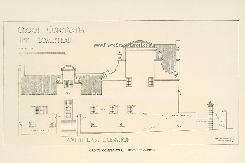 Groot Constantia (the Homestead), Side Elevation From the book ' Eighteenth century architecture in South Africa ' by Geoffrey Eastcott Pearse. Published by A.A. Balkema, Cape Town in 1933 G. E. Pearse was among the first to bring Cape architecture to a wide audience in a scholarly way. Eighteenth Century Architecture in South Africa was the result of many years research on the topic and remains an important reference work for the subject.