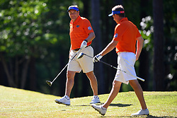Dan Mullen walks off a green during the Chick-fil-A Peach Bowl Challenge at the Oconee Golf Course at Reynolds Plantation, Sunday, May 1, 2018, in Greensboro, Georgia. (Dale Zanine via Abell Images for Chick-fil-A Peach Bowl Challenge)