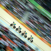 Track Cycling - Olympics: Day 6    Alexander Edmondson, #1, Michael Hepburn #74, Callum Scotson #76 and Sam Welsford #78 of Team Australia in action during the Men's Team Pursuit competition in the track cycling competition at the Rio Olympic Velodrome August 12, 2016 in Rio de Janeiro, Brazil. (Photo by Tim Clayton/Corbis via Getty Images)