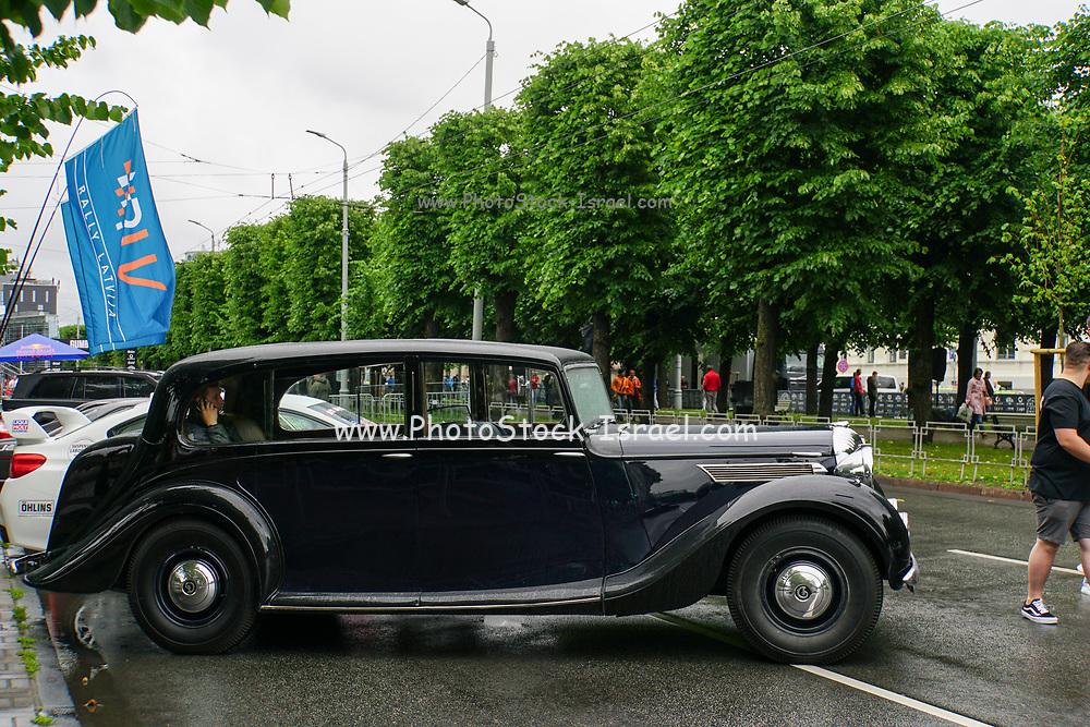 Daimler DE27 Classic car on display at the start of the Riga to Mykonos Gumball 3000 Rally, Riga, Latvia