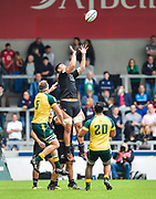 New Zealand's Isaia Walker-Leawe collects a high ball during the World Rugby U20 Championship 5rd Place play-off  match Australia U20 -V- New Zealand U20 at The AJ Bell Stadium, Salford, Greater Manchester, England on Saturday, June  25  2016.(Steve Flynn/Image of Sport)
