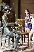 Fernando Pessoa's statue in Chiado district. Fernando Pessoa is one of the two greatest poets in portuguese history, together with Luiz Vaz de Camões.