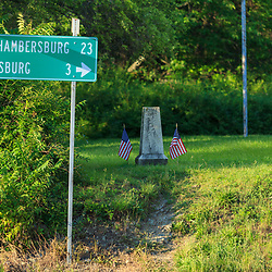 Gettysburg, PA, USA - March 23, 2012: The First Shot Marker along present day Route 30 west of Gettysburg shows where the first shot of the battle was fired.