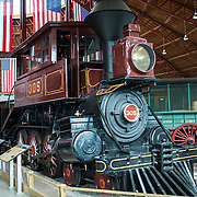 "B&O No. 305 ""Camel"", a 4-6-0 Davis ""Camel"" classification locomative built in 1869 on display at teh B&O Railroad Museum. The B&O Railroad Museum in Mount Clare in Baltimore, Maryland, has the largest collection of 19th-century locomotives in the United States."