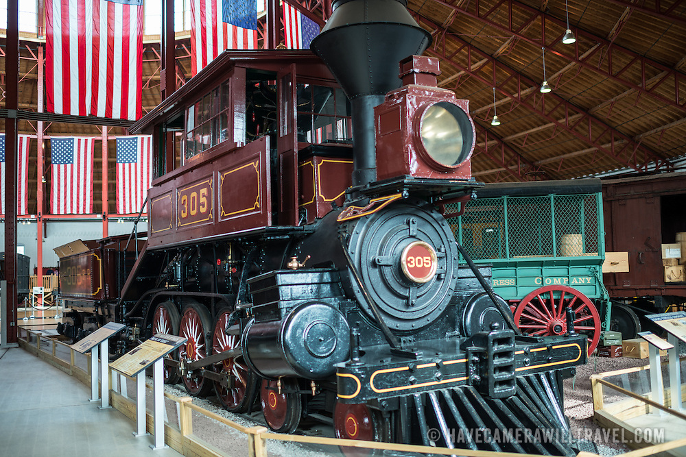 """B&O No. 305 """"Camel"""", a 4-6-0 Davis """"Camel"""" classification locomative built in 1869 on display at teh B&O Railroad Museum. The B&O Railroad Museum in Mount Clare in Baltimore, Maryland, has the largest collection of 19th-century locomotives in the United States."""