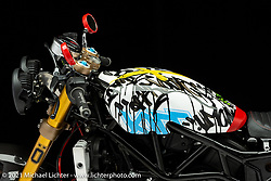Jeff Wright's Indian FTR race bike.  Photographed by Michael Lichter in Sturgis, SD. August 6, 2021. ©2021 Michael Lichter