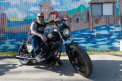 Jason Grimes on his custom Harley-Davidson at the Boardwalk Classic Bike Show during Daytona Beach Bike Week. Daytona Beach, FL, USA. March 13, 2015.  Photography ©2015 Michael Lichter.