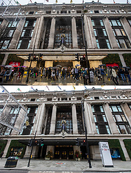 COMBINATION IMAGE © Licensed to London News Pictures. 26/12/2020. London, UK. In this combination image shoppers are seen outside Selfridges, Oxford Street on Boxing Day in 2019 (TOP) and the same scene today (LOWER). On one of the busiest shopping days of the year a near deserted Oxford Street as all non-essential shops remain closed due to the continuing coronavirus pandemic that has swept through the World. Last week Health Secretary Matt Hancock announced that yet another new Covid-19 mutation has been discovered in the UK as Downing Street orders many more areas of England to go into Tier 4 lockdown from Boxing Day with tougher new Covid-19 restrictions for many as the mutated strains continue to spread throughout the South East. Photo credit: Alex Lentati/LNP