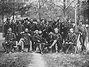 General Joseph Hooker and his Staff from the book ' The Civil war through the camera ' hundreds of vivid photographs actually taken in Civil war times, sixteen reproductions in color of famous war paintings. The new text history by Henry W. Elson. A. complete illustrated history of the Civil war