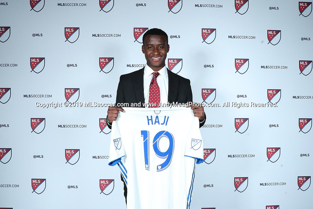 CHICAGO, IL - JANUARY 11: Siad Haji was taken with the second overall pick by the San Jose Earthquakes. The MLS SuperDraft 2019 presented by adidas was held on January 11, 2019 at McCormick Place in Chicago, IL.