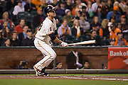 San Francisco Giants catcher Buster Posey (28) bats against the Colorado Rockies at AT&T Park in San Francisco, Calif., on September 27, 2016. (Stan Olszewski/Special to S.F. Examiner)